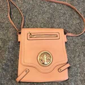 Women's Pink & Gold Accented Crossbody Bag
